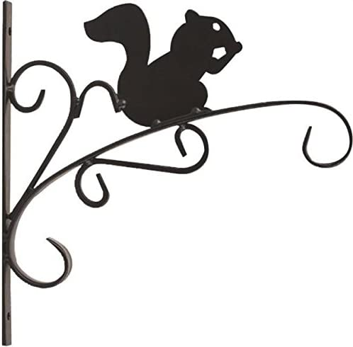 Rocky Mountain Goods Hanging Planter Bracket with Install Kit 11 – Holds up to 20 Pot and 45 lbs – Rust Proof Wrought Iron – Includes install screws Squirrel