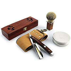 "A.P. Donovan - Excellent 7/8 "" Straight razor Set - cut throat incl. Brush, shaving soap, Strop (blade is not stainless) - Mahogany"