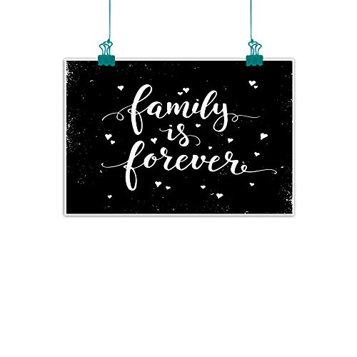 funkky Family Simulation Oil Painting Family is Forever Hand Drawn Typography with Little Cute Hearts Poster Style Decorative Painted Sofa Background Wall 47