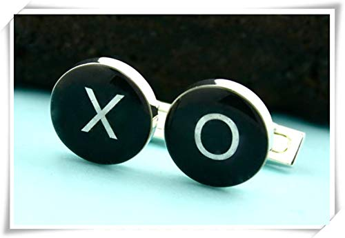Goodnight cat Hugs and Kisses Cufflinks, X and O Cufflinks, Dome Glass Jewelry, Pure Hand-Made. ()