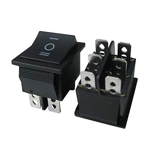 TWTADE / 5Pcs Black ON/OFF/ON DPDT 6 Pin 3 Position Mini Boat Rocker Switch Car Auto Boat Rocker Toggle Switch Snap AC 250V 125V/20A (Quality Assurance for 1 Years)XW-604AB3