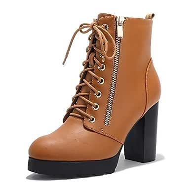 IDIFU Women's Madeline-Z Fashion Chunky High Heel Ankle Booties Side Zipper Platform Boots (Camel Pu, 5.5 M US)