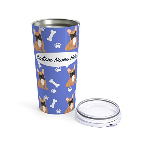 Custom Brown French Bulldog 20oz Travel Mug - Personalized Stainless Steel Insulated Tumbler Cup for Dog Lovers Warm Cold Drinks Coffee Beer Gifts for Men Women Frenchies