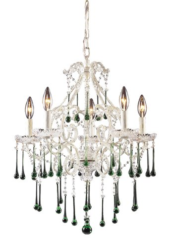 Antique White Lime Crystal - Elk 4002/5LM 5-Light Chandelier in Antique White and Lime Crystal