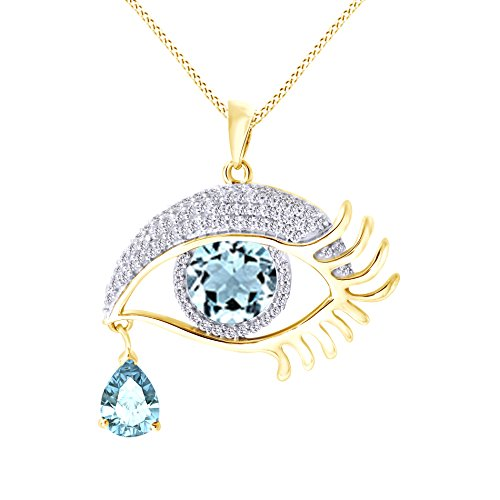 - Jewel Zone US Angel Eye Teardrop Simulated Aquamarine Pendant Necklace in 14K Yellow Gold Over Sterling Silver