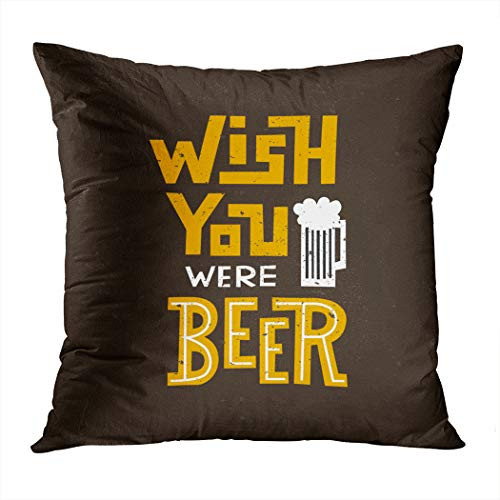 Suike Throw Pillow Cover Wish You were Beer Handwritten Lettering Hidden Zipper Home Sofa Decorative Cushion Case 18x18 Inch Square Printed Pillowcase