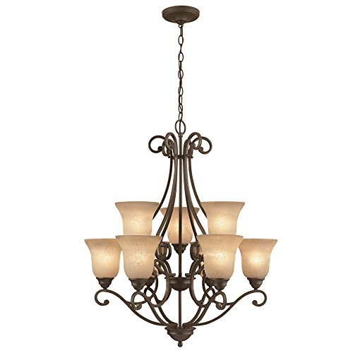 Linkhorn 30-in 9-Light Iron Stone Wrought Iron Tinted Glass Shaded ()