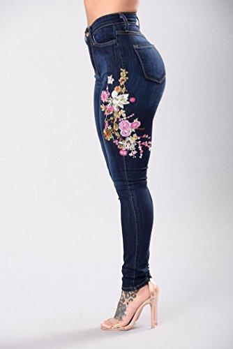 Denim Casual Femme Bleu Mode Pantalons Femmes Elastique WanYang Taille Dchirs Fonc A Trou Jeans Haute BvTwx5H