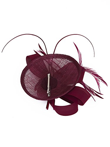 Vijiv Women Vintage Derby Fascinator Hat Pillbox Headband Feather Cocktail Tea Party, Red, One Size by Vijiv (Image #5)