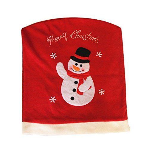[Fedi Apparel Santa Clause Red Chair Back Snowman Cover Christmas Dinner Table Christmas Party Decor] (Womens Homemade Snowman Costume)