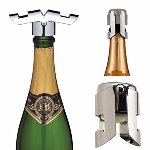 - 1 Pc Stainless Steel Wine Stopper Sealers Sparkling Champagne Cap Bottle Opener Keychain Key Rings Chains Wrist Holder Strap Important Popular Beer Openers Corkscrew Catcher Vintage Utility Pocket