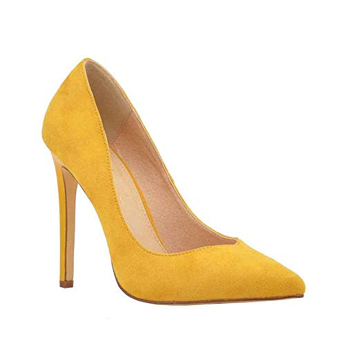 Olivia Jaymes Women's Dress Pump   Pointy Toe Curved V Cut   Slender Stiletto Thin Heel Slip-on Pumps (6.5, Mustard)