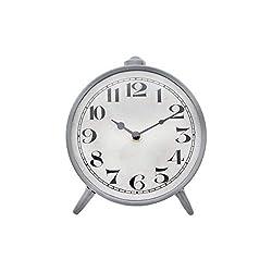 Creative Co-op Round Metal Mantel Clock, 6 x 6.75, Grey