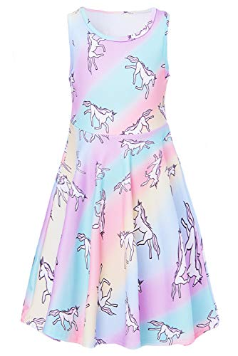 RAISEVERN Toddler Girl's Unicorn Dress Sleeveless Sundress Cute Round Neck Rainbow Dresses Summer Holiday Beachwear for Child 4-5T -