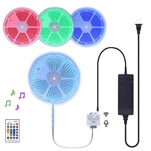 50Ft Continuous Long Runs 24V RGB LED Strip Light Kit incl Music Sensor & Remote Controller and Power Supply Multiple Colors Changing Tube Waterproof Rope Strips