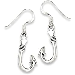 Pirate Fish Hook Fishing .925 Sterling Silver Ocean Dangle Camping High Polish Earrings