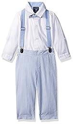 Izod Kids Baby Boys\' Solid Creeper and Seersucker Suspender Set, White, 12M