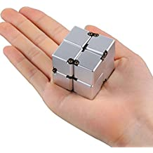 Aluminum Alloy Infinity Cube grown-up toys novelty games Board Games Magic Square Infinite Flip Rubik's Cube Perfect For ADD ADHD Office/Study novelty toys Gift for Anxiety Relief and Autism