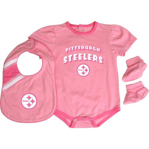 Reebok Pittsburgh Steelers Infant Creeper, Bib & Bootie Set - Pink Infant 24 Months (Infants Nfl Creeper Reebok)