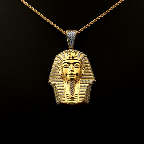 Love Bling 10k Yellow Gold Egyptian Pharaoh Head Charm Pendent (2.72'' x 1.58'') by LoveBling (Image #1)