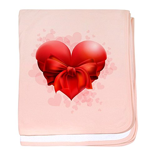 Truly Teague Baby Blanket Heart With Red Bow - Petal Pink by Truly Teague