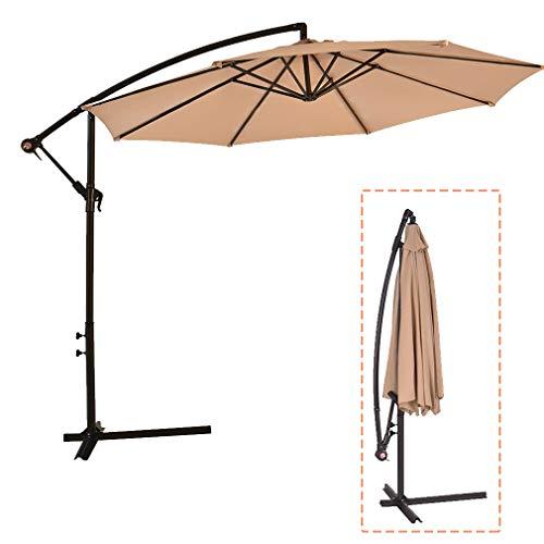 MR Direct Patio Umbrella Offset 10' Hanging Umbrella Outdoor Market Umbrella D10 (Tan)