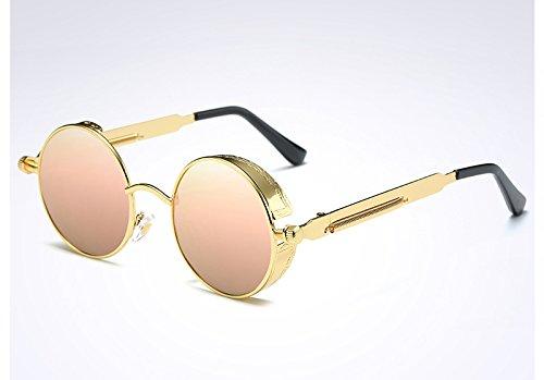 Steampunk TL pink las gafas UV400 Sunglasses Vintage Gafas oro de sol gold mujer de Ronda verde q4rzqRpn