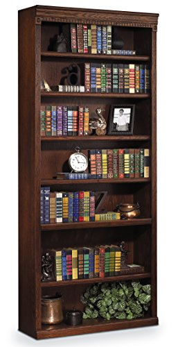 Martin Furniture Huntington Oxford 84'' Open Bookcase, Burnish Finish, Fully Assembled by Martin Furniture