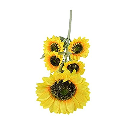 Conjugal Bliss 1 Bunches Per Pack Artificial Sunflower Flower Bouquet Rayon Cloth 5 Flowers Per Bunch For5 Wedding Party Home Decor DIY Floor Garden Fence Office Decorations (Yellow)