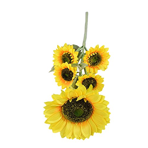 Conjugal Bliss 1 Bunches Per Pack Artificial Sunflower Flower Bouquet Rayon Cloth 5 Flowers Per Bunch For5 Wedding Party Home Decor Diy Floor Garden Fence Office Decorations  Yellow