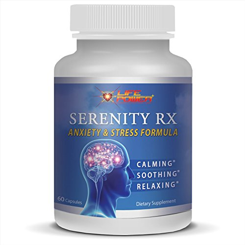 SERENITY RX- Anxiety & Stress Relief Formula. Rhodiola, Chamomile, St John's Wort, GABA, Valerian, 5-HTP & 10 Vitamins to Promote Natural Calm, Soothing & Relaxation. 60 Capsules.