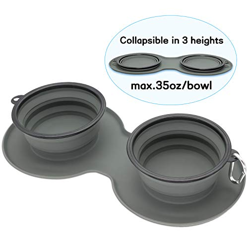 WINSEE Collapsible Dog Bowl, Double Silicone Pet Bowl, Portable Foldable Travel Bowls with Aluminum Carabiner Clip for Food Water Feeding Large Dog Bowl BPA Free Dishwasher Safe