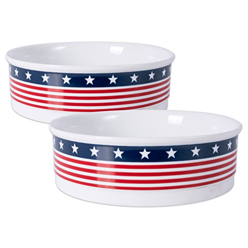 """DII Bone Dry Patriotic Ceramic Pet Bowl for Food & Water with Non-Skid Silicone Rim for Dogs and Cats (Large - 7.5"""" Dia x 4""""H) Stars and Stripes"""