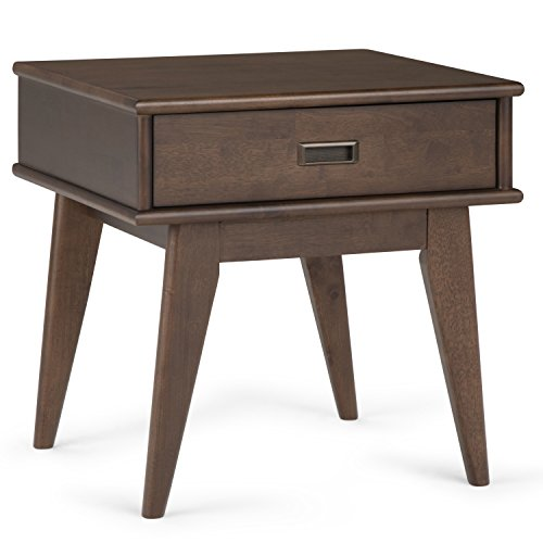 Cheap Simpli Home Draper Mid Century Solid Hardwood End Table, Walnut Brown