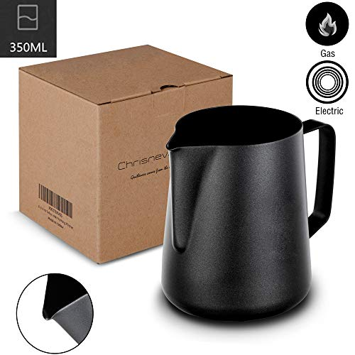 Milk Frothing Pitcher, Chrisnevant Chef Stainless Steel Creamer Non-Stick Teflon Frothing Pitcher 12 oz (350 ml), Matte Finish