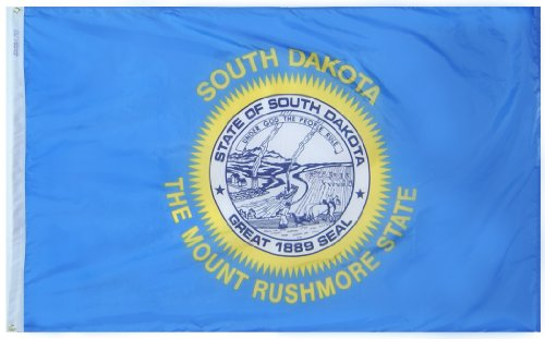 Annin Flagmakers Model 144960 South Dakota State Flag 3x5 ft. Nylon SolarGuard Nyl-Glo 100% Made in USA to Official State Design Specifications.