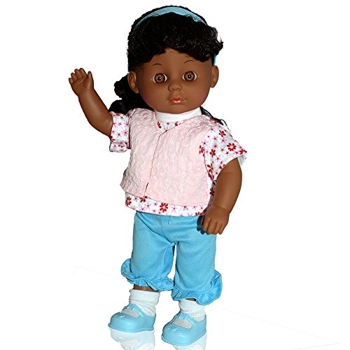 Super Cute 12 Inch Soft Body Dark Skin Girl Play Doll with Hair Play Set Includes Hair Dryer Comb Mirror Hair Bands Clips and More - Doll Comes Dressed with Clothing and (Hairstyles How To)