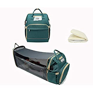 New 3-in-1 Travel Mommy Diaper Backpack Bag,Portable Baby Bassinets Bed with Mattress,Changing Pad,Folding Crib for Baby and Toddler,Infant Sleeper Nest(Green)