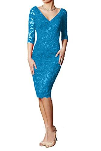 Abendkleider V Rock Etuikleider Damen Glamout Ausschnitt Spitze Promkleider Charmant Blau Knielang Partykleider Kurz BUxgq0wppn