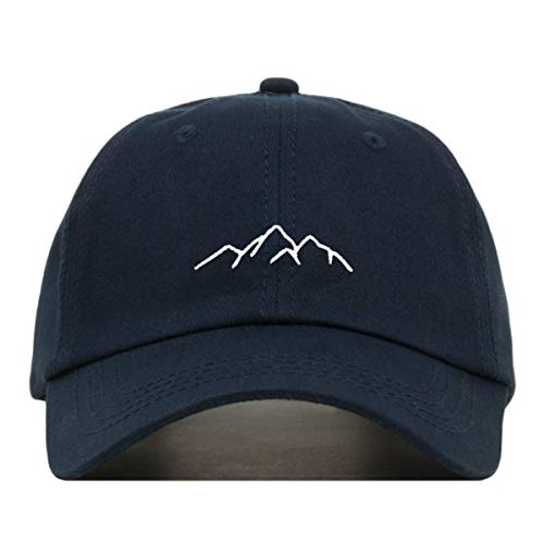 - Mountains Dad Hat, Embroidered Baseball Cap, 100% Cotton, Unstructured Low Profile, Adjustable Strap Back, 6 Panel, One Size Fits Most (Multiple Colors) (Navy)