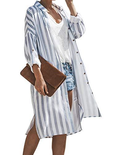 Sidefeel Women Striped Roll-up Sleeve Cardigan Outerwear 2XL Blue