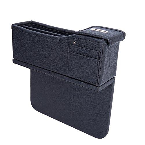 Autvivid Car Seat Catcher Gap Filler Organizer Side Slit Pocket Coin Side Pocket Console Side Pocket Car Organizer Storage Box (Black, Passenger's Side)
