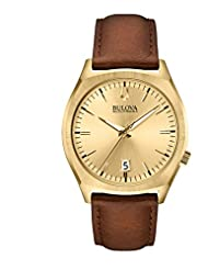 Bulova Accutron II Men's UHF Watch with Gold Dial Analogue Display and Brown Leather Strap - 97B132