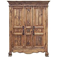 Rustic 2 Door Reclaimed Walnut Finish Armoire Western Lodge Cabin Real Solid Wood