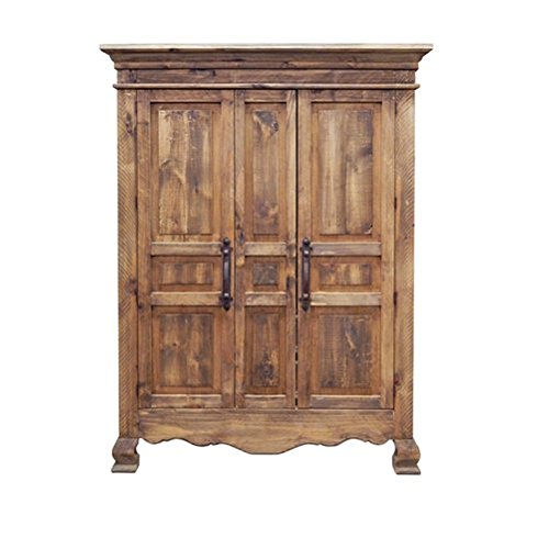 Rustic 2 Door Reclaimed Walnut Finish Armoire Western Lodge Cabin Real Solid Wood 2 Door Walnut Armoire