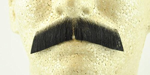 Gentleman Moustache BLACK - 100% Human Hair- no. 2011 - REALISTIC! Perfect for Theater - Reusable! (Theatrical Moustaches And Beards)