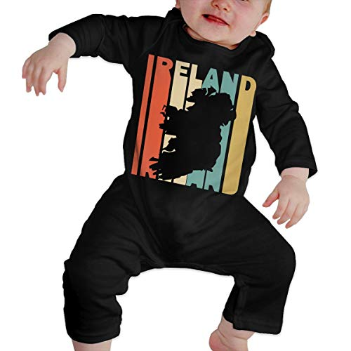 Long Sleeve Cotton Bodysuit for Baby Boys and Girls, Soft Retro Style Ireland Silhouette Sleepwear Black -
