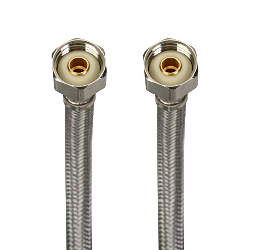 Fluidmaster 4F72CU Faucet Connector With Size Adaptors, Braided Stainless Steel - 3/8 Compression, 7/16 Compression, 1/2 Compresssion, or 1/2 F.I.P. Thread x 1/2 F.I.P. Thread, 72-Inch Length by Fluidmaster