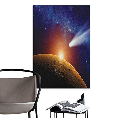 Williasm Home Decor Decals Mural Outer Space Comet Tail Approaching Planet Mars Fantastic Cosmos Dark Solar System Scenery Bue Orange Kitchen Room Wall W24 x -