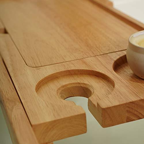 ZhaoLiRuShop Bathtub Trays Bath Caddy Bath Tray Bath Board Solid Wood Telescopic Non-Slip Bathtub Frame Mildew Bath Bracket Bath Tub Barrel Bath Bracket (Color : Natural, Size : 62.5-9520cm) by ZhaoLiRuShop (Image #2)